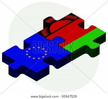European Union And Malawi Flags In Puzzle