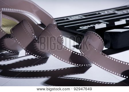 Coil And Film Into A Movie Clapper For Film Production