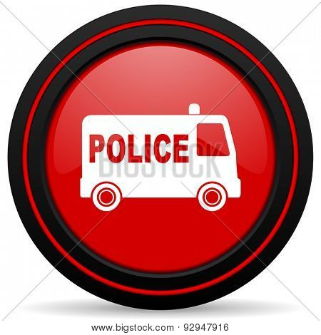 police red glossy web icon