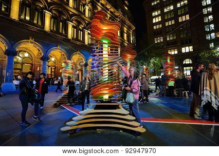 Visitors Interact With Robotanic Vivid Sydney