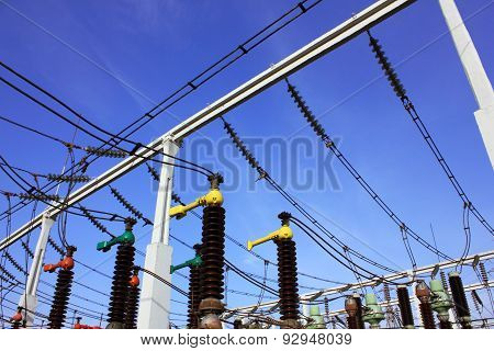 High voltage switch-yard in electrical substation