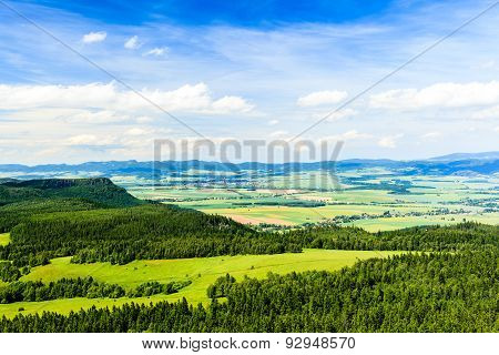 Summer Inspirational Landscape Green Forest And Mountains