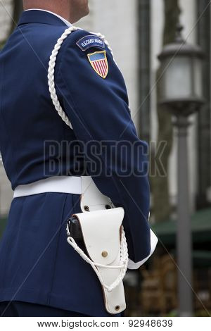 NEW YORK - MAY 21 2015: Close-up profile of a member of the Ceremonial Honor Guard Silent Drill Team during their performance in Bryant Park during Fleet Week NY.
