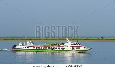 Express Boat On The Kaladan River, Myanmar