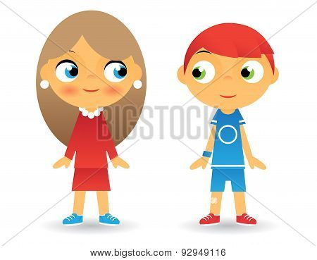 Girl and Boy Cartoon Character Children Icons Isolated Vector Illustrator