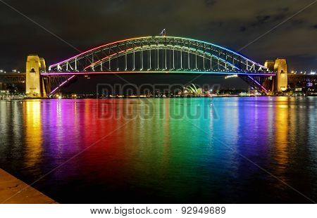Sydney Harbour Bridge In Rainbow Colours