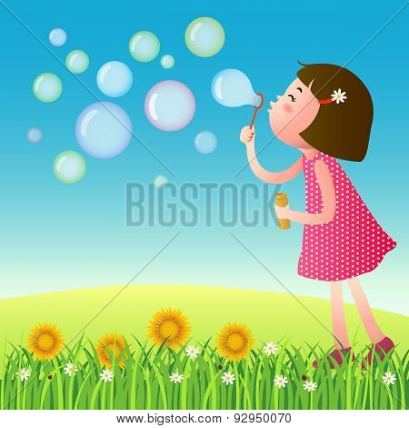 Cute Girl Blowing Bubbles On The Lawn