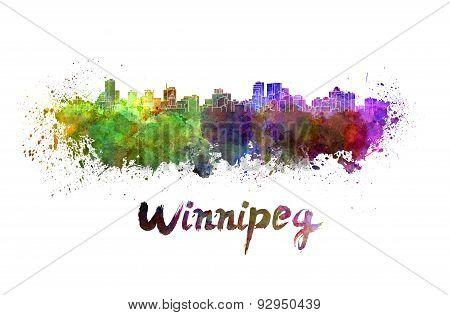 Winnipeg Skyline In Watercolor