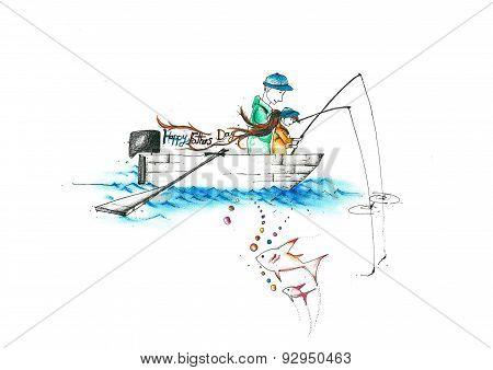 father and a child fishing on a boat writing happy fathers day