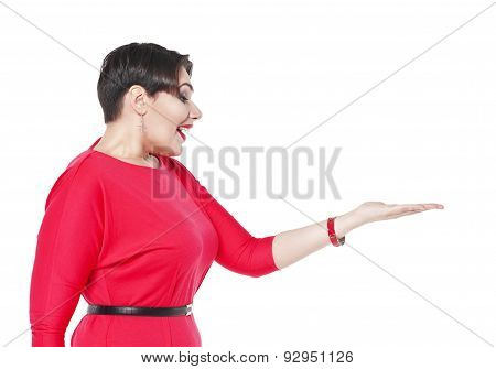 Surprisedl Plus Size Woman In Red Dress Looking On Her Palm