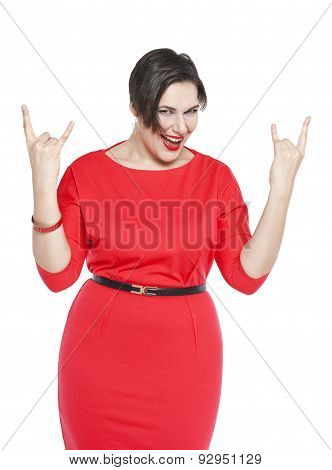 Beautiful Plus Size Woman In Red Dress With Horn Gesture Isolated