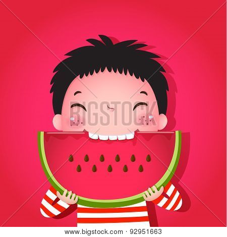 Cute Boy Eating Watermelon
