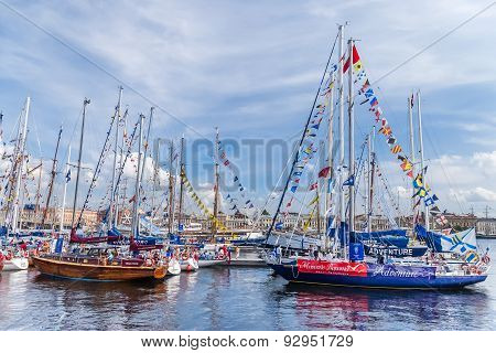 Sailboats On Regatta In Saint-petersburg