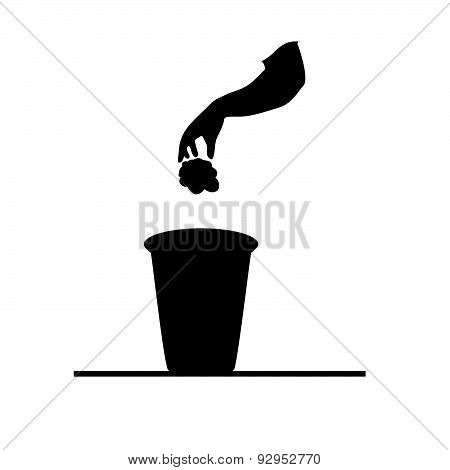 Garbage Can Black Vector
