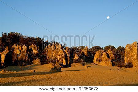Pinnacles and Moon, Nambung National Park, Western Australia