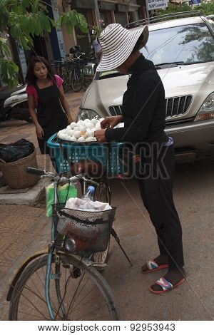 Eggs Vendor In The Streat Of Siem Reap, Cambodia