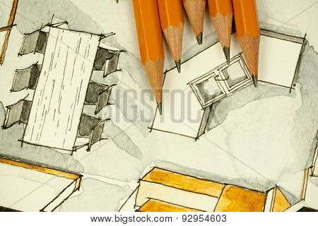 Watercolor freehand sketch painting of floor plan kitchen island and table with a bunch of pencils