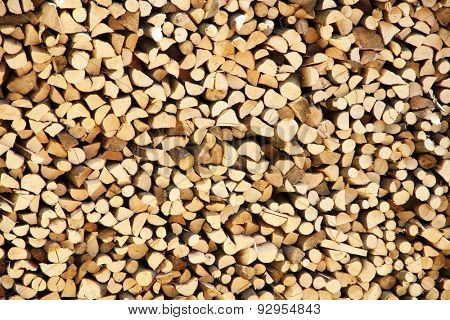Pile of firewood as background