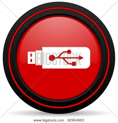usb red glossy web icon