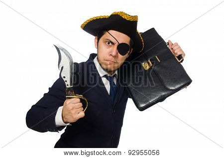One eyed pirate with briefcase and sword isolated on white