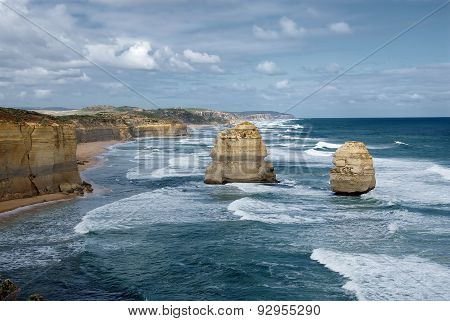The Twelve Apostles On A Stormy Day, Great Ocean Road, Victoria, Australia