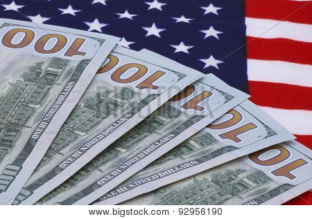 Dollars Banknotes On Usa Flag