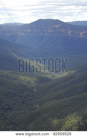Aerial view of a valley In The Blue Mountains National Park, Nsw, Australia