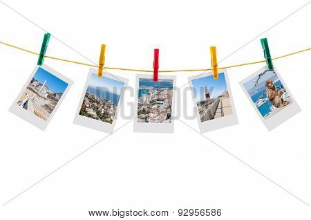 Five Photos Of Gibraltar On Clothesline