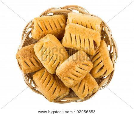 Small Strudels In Wicker Basket