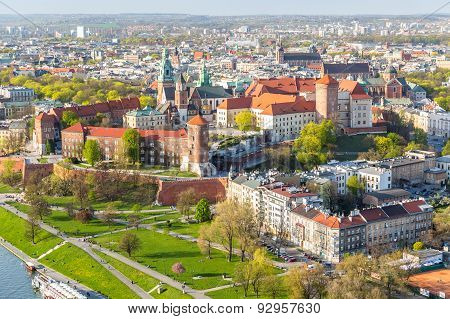 Panorama Of Beautiful Krakow, Former Capital City Of Poland, Europe