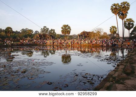 Crowd At Sunrise, Angkor Wat In Cambodia