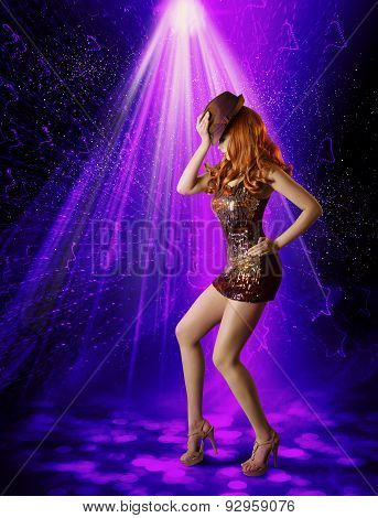 Nightclub Dancing Girl, Woman Artist In Night Club, Dancer Posing In Hat Shine Dress, Laser Lighting