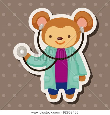 Animal Monkey Doctor Cartoon Theme Elements