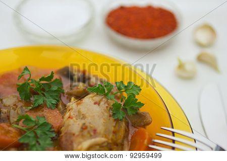 Delicious food in restaurant closeup