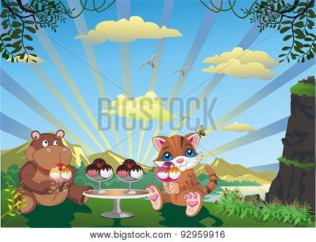 Picture - Kitten And Hippo With Ice Cream Outdoors [