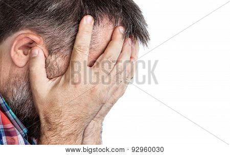 Elderly Man With Face Closed By Hand