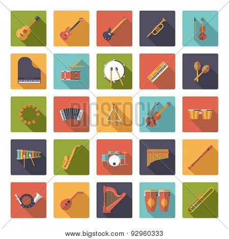 Musical Instruments Flat Design Vector Icons Collection. Set of 25 musical instruments icons in rounded squares, flat design, long shadow.