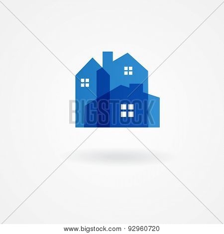 Real estate company logotype.  Vector logo design template. Houses abstract concept icon.