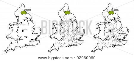 Durham located on map of England