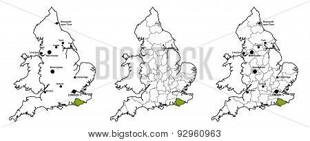 East Sussex located on map of England