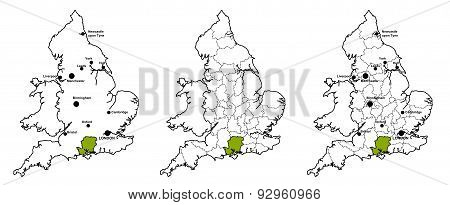 Hampshire located on map of England