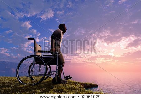 A man in a wheelchair outdoors.