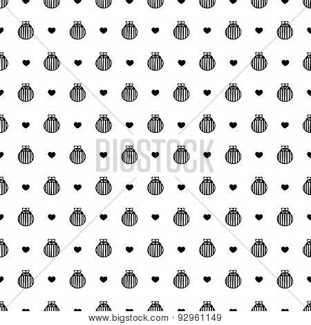 Bug And Hearts Black And White Seamless Vector Pattern