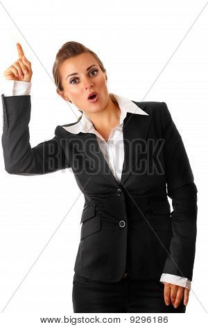 modern business woman with rised finger. idea gesture