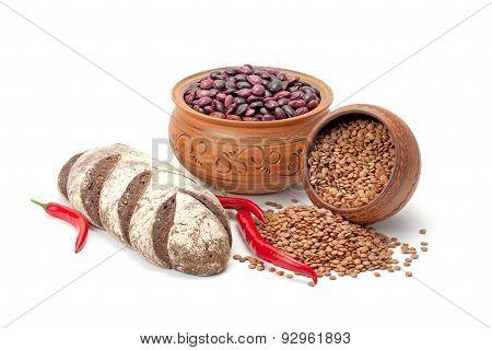 Clay Pots, Legumes ,pepper And Bread