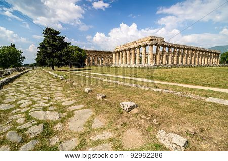 Temple Of Hera The Famous Paestum Archaeological  Site In Italy