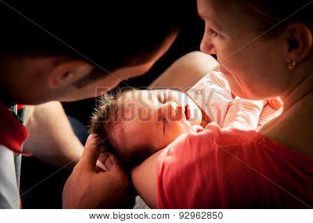 Newborn baby on mother hands