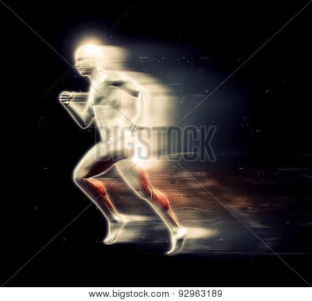 3D render of a male figure running with speed special effect