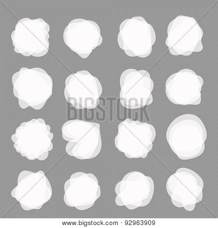 Different white blobs clip-art. Vector elements collection