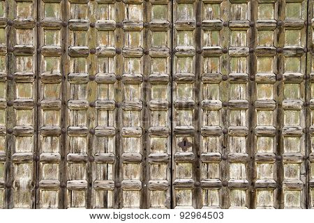 Square Pattern Worn Wooden Door Background